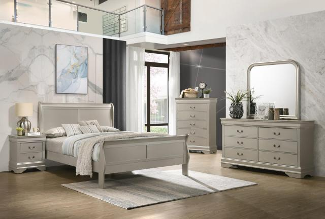 Modern Sleigh Bedroom Set Silver Color 4Pc Queen Bed ...