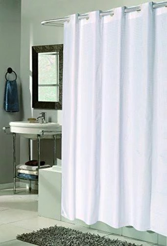 splish splash easy on no hooks needed extra long 72 inch x 84 inch fabric shower curtain with built in hooks white check