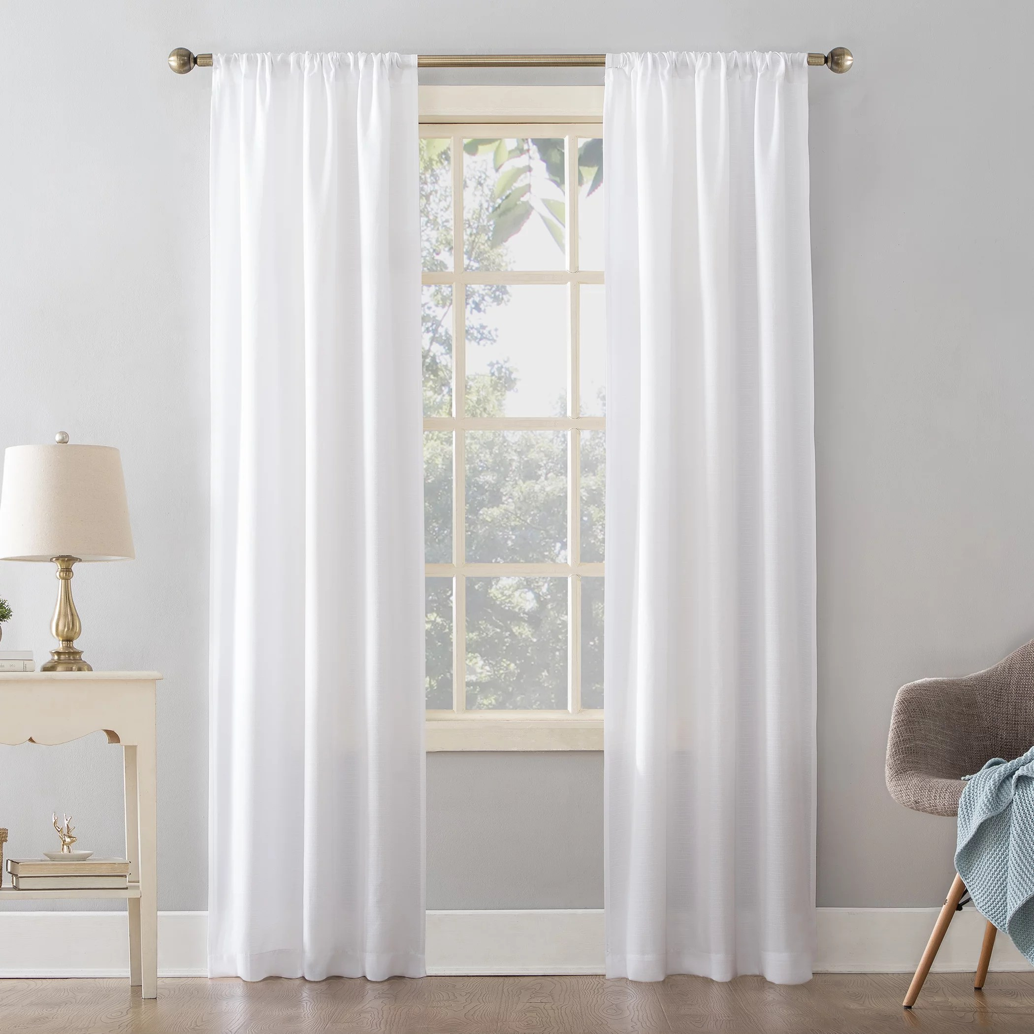 mainstays textured solid curtain panel 38 x 84 white