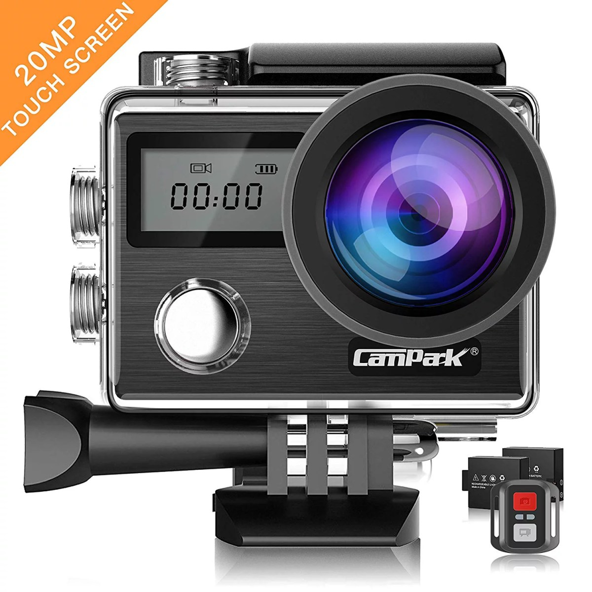 Action Camera Campark X20 4K 20MP Touch Screen Waterproof Video Cam Sony Sensor Underwater Camcorder with EIS, Dual Screen, Remote Control Update Version