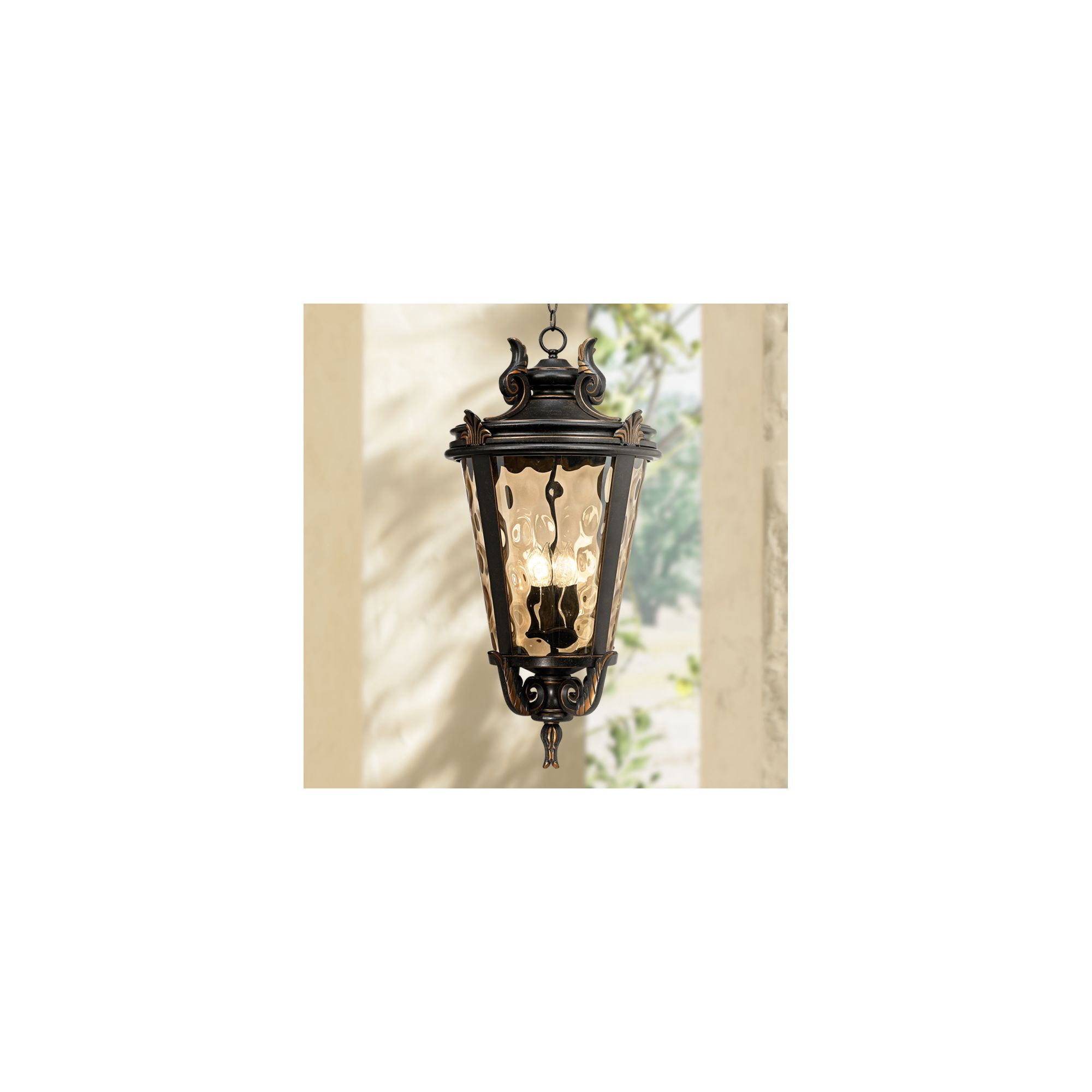 john timberland traditional outdoor ceiling light hanging veranda bronze 30 champagne hammered glass damp rated for porch patio walmart com