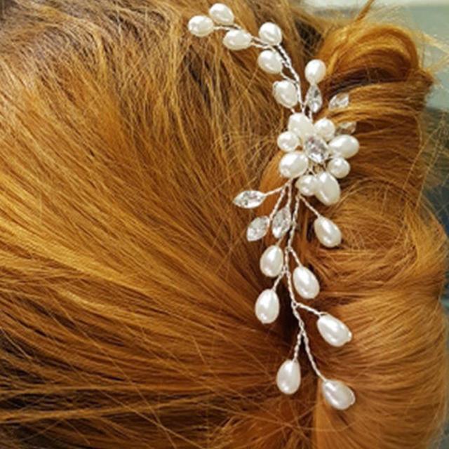 fashion wedding party bridal pearl flower crystal hair pins bridesmaid clips side comb