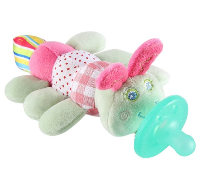 Cute Baby Pacifier Holder Stuffed Animal Baby Nipples Pacifiers Holder Baby Toys With Silicone Binky Teething