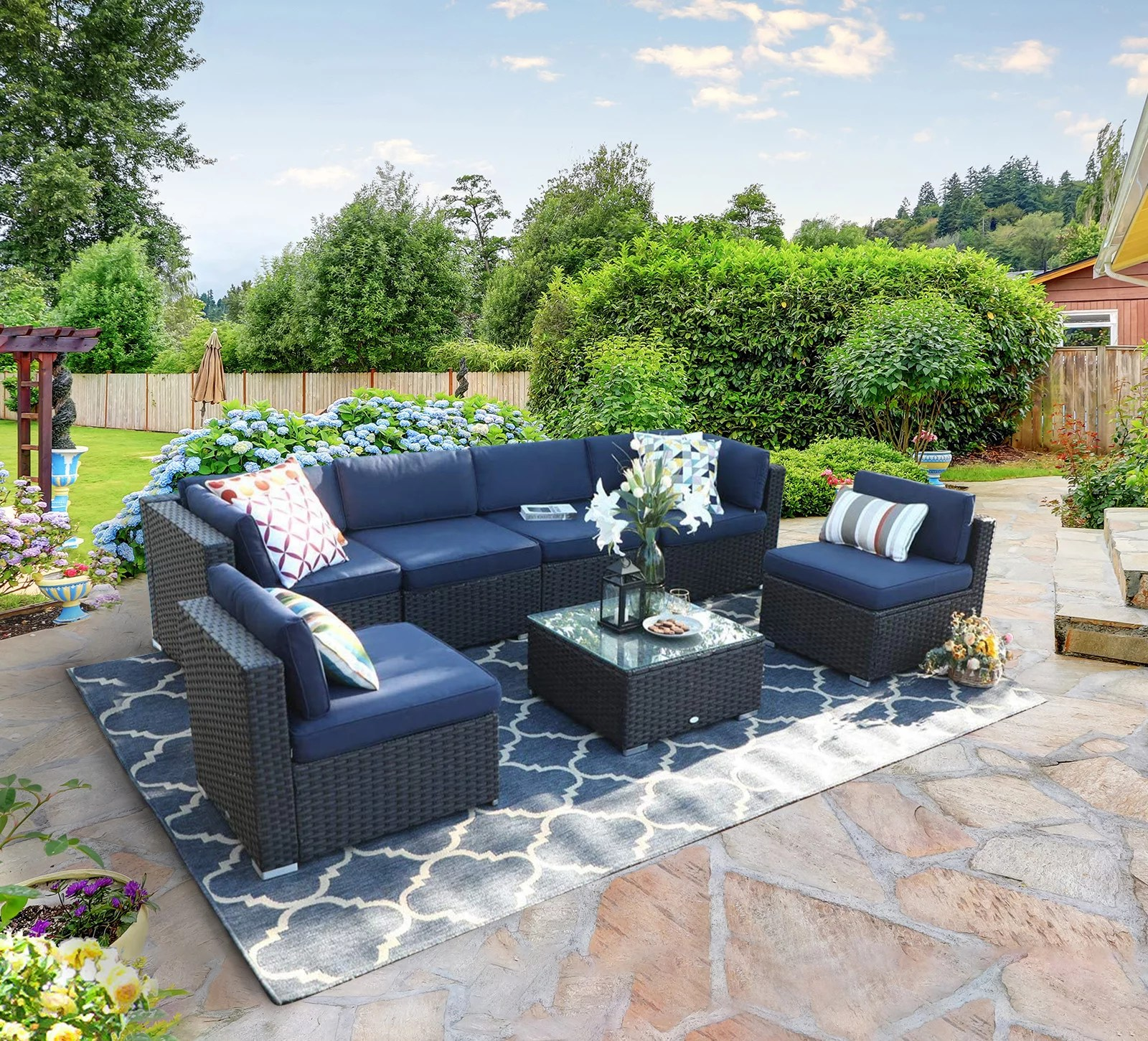 mf studio 7 pieces outdoor patio sectional sofa sets all weather pe rattan conversation sets with glass table blue