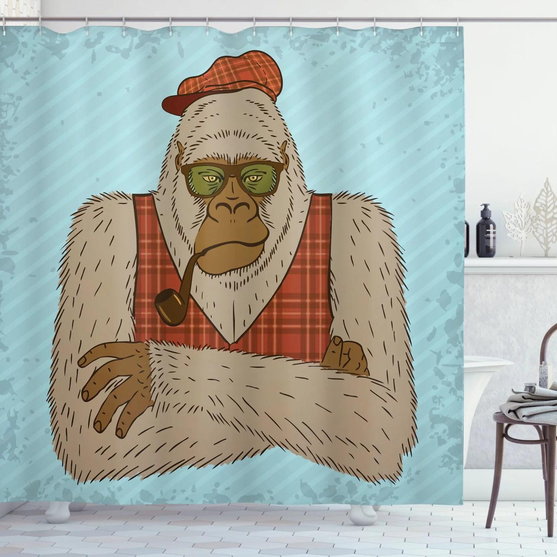 bigfoot shower curtain melancholic yeti portrait smoking pipe wearing hipster tartan waistcoast and hat fabric bathroom set with hooks 69w x 84l