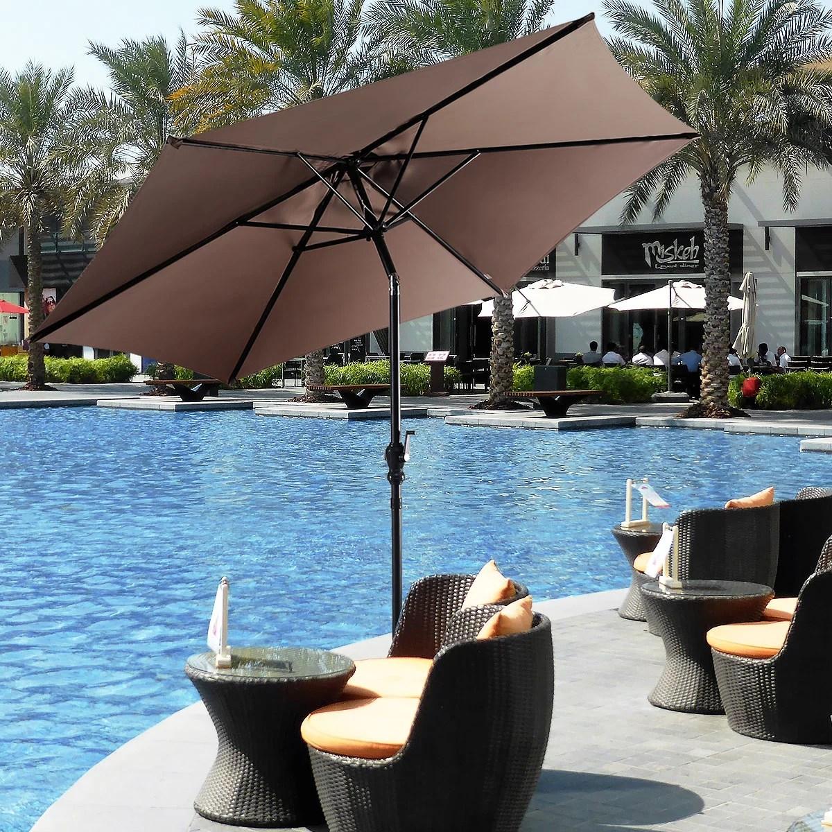 costway 9ft patio umbrella patio market steel tilt w crank outdoor yard garden tan walmart com