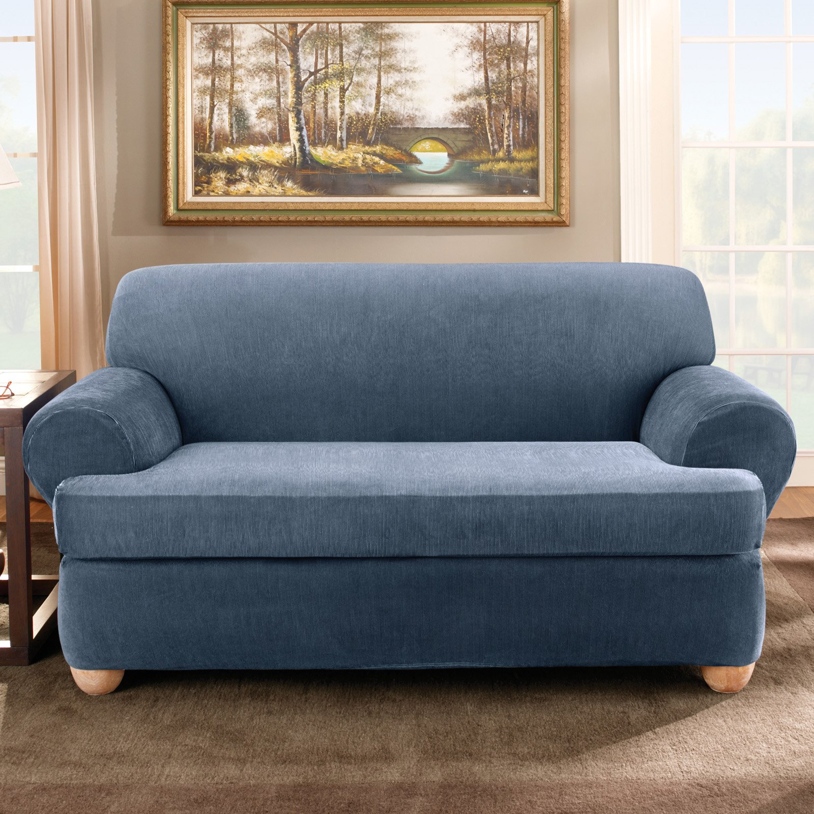 Sure Fit Stretch Stripe Separate Seat T Cushion Sofa Slipcover