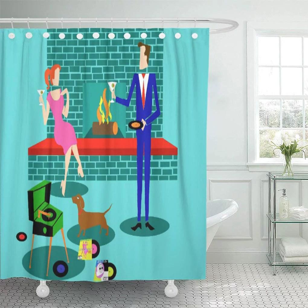 cynlon red evening retro couple dog home mid century modern bathroom decor bath shower curtain 66x72 inch walmart com