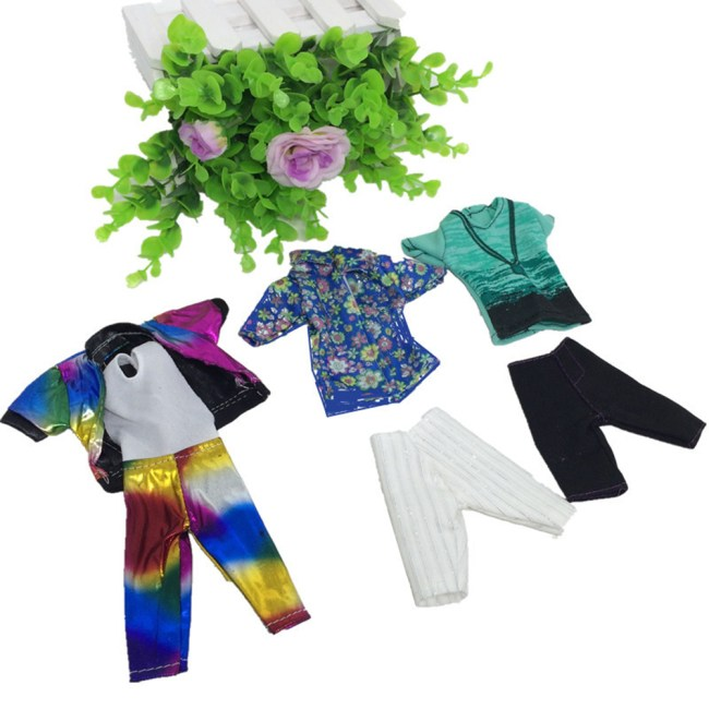 Fashion Casual Wear Doll Clothes Tops Pants Outfit for Barbie's Boy Friend Ken Doll Color: Multicolor Height:5pcs