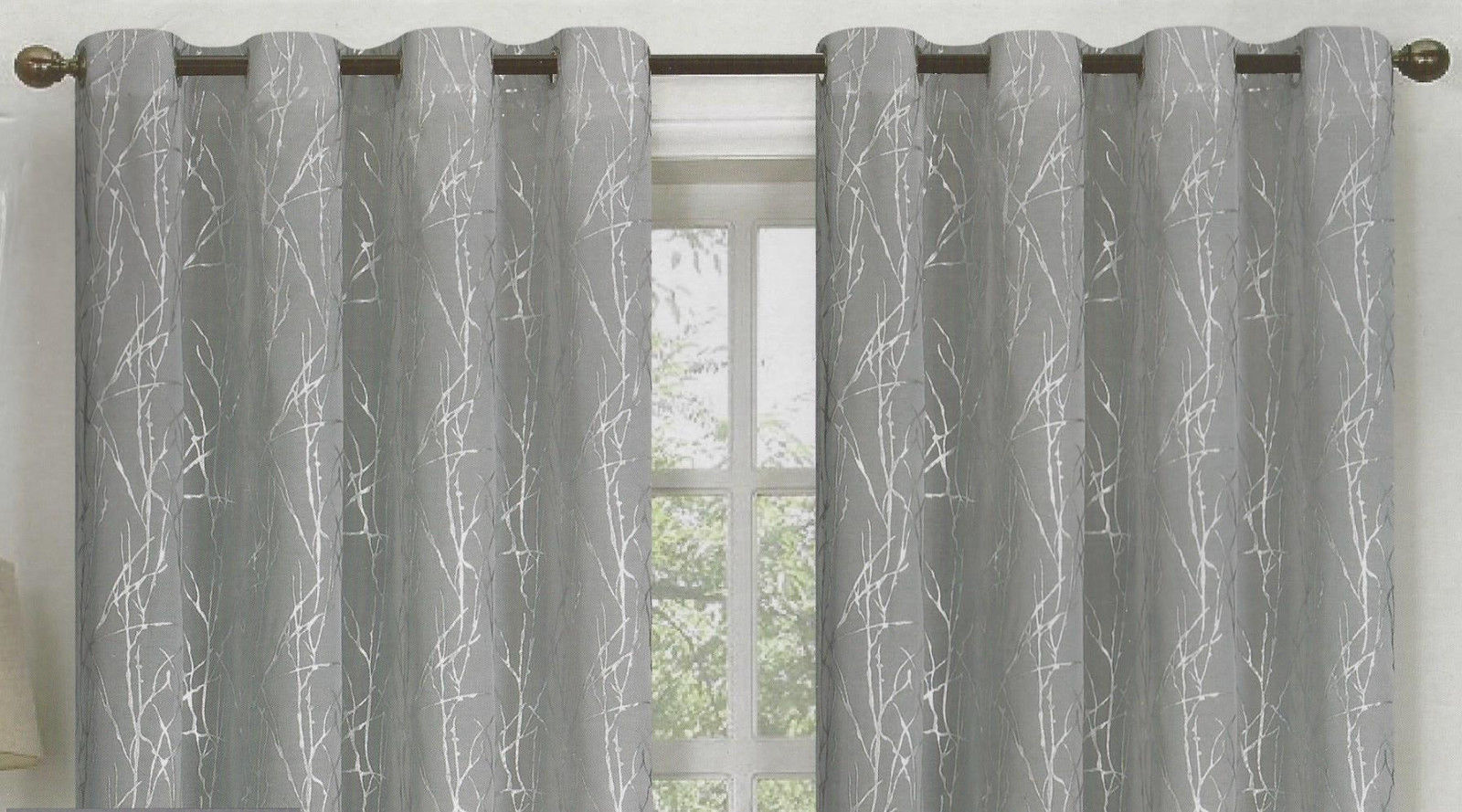 set of 2 martina grommet top snow voile curtain panels with silver metallic accent 90 long silver