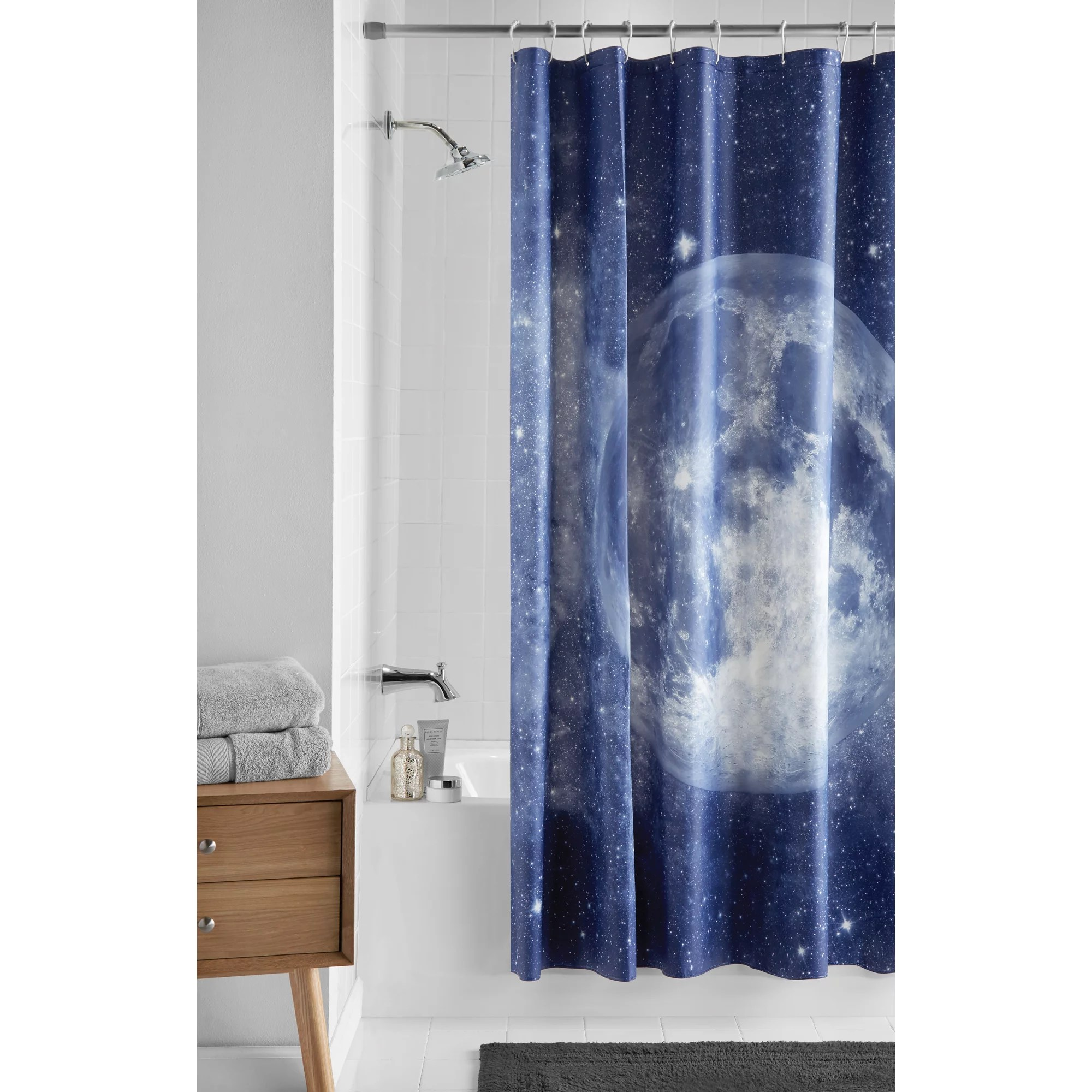mainstays navy moon peva shower curtain 70 x 72 walmart com