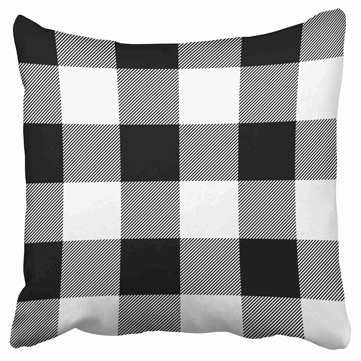 eccot rustic black and white buffalo check plaid outdoor pillow case pillow cover 16x16 inch walmart com