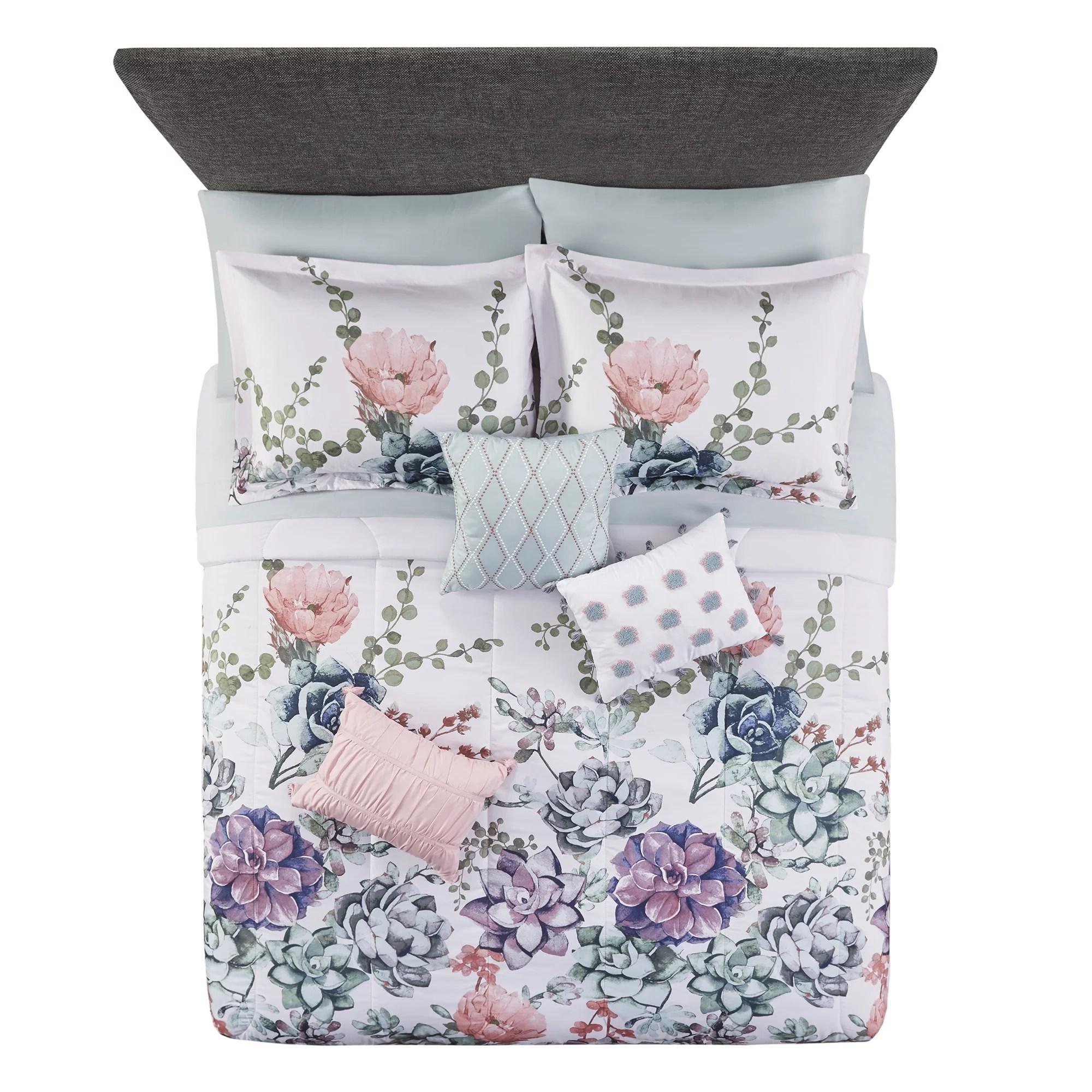 mainstays jade floral 10 piece bed in a bag bedding set w bonus sheet set pillows king
