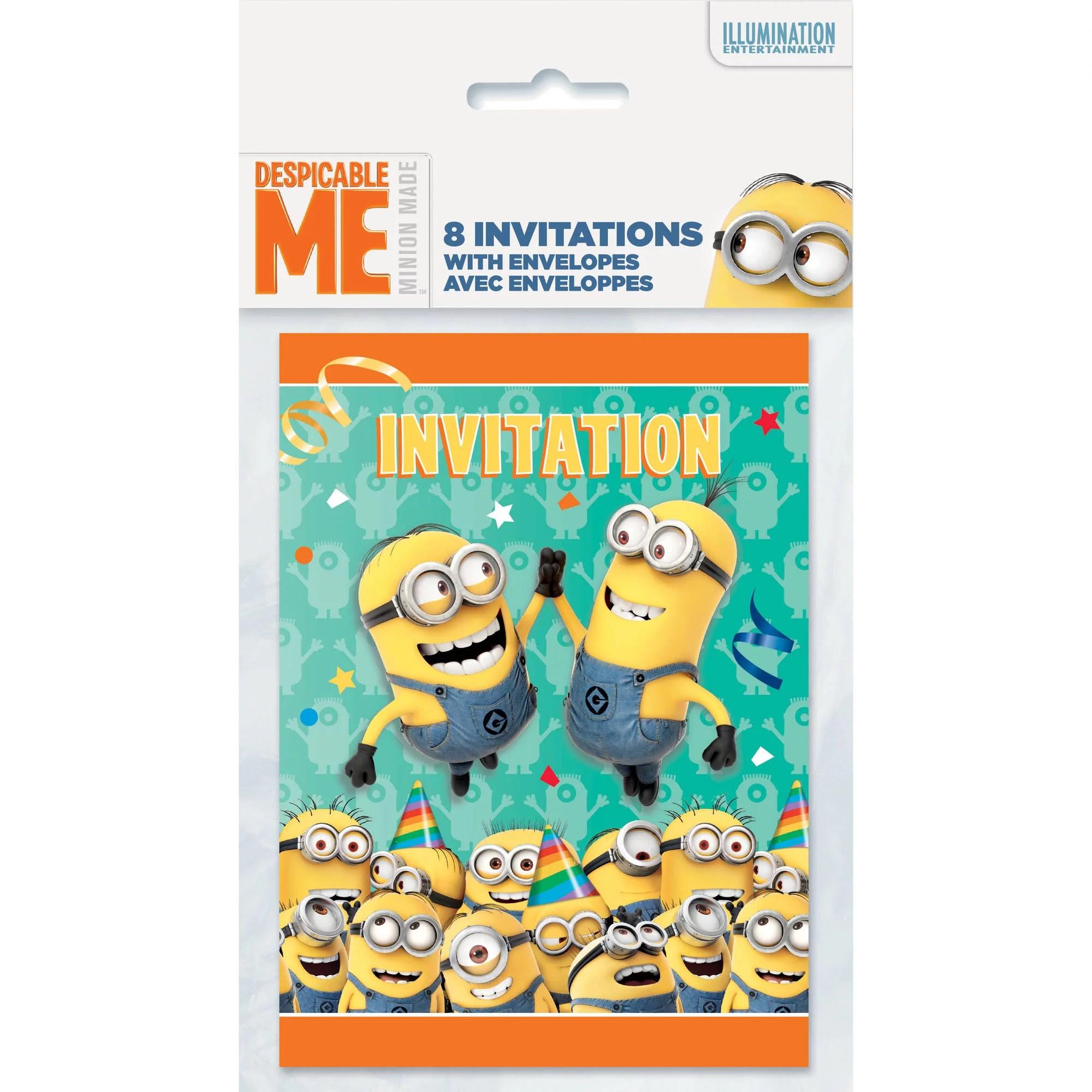 Despicable Me Minions Invitations 8ct Walmart Com Walmart Com