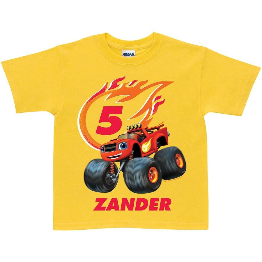 Personalized Blaze And The Monster Machines Birthday Yellow Boys Youth T Shirt Walmart Com Walmart Com