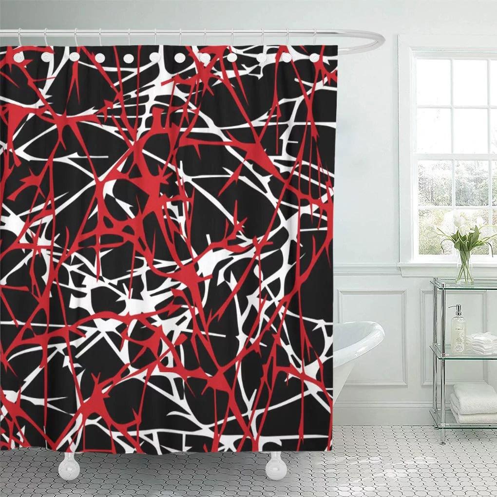 cynlon red black in modern abstract white bathroom decor bath shower curtain 66x72 inch walmart com