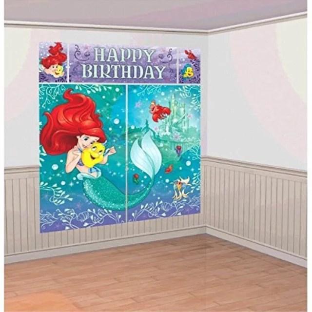 Disney Little Mermaid Princess Ariel Dream Big Kids Party Scene Setter Wall Decorations Kit Kids Birthday And Party Supplies Decoration Walmart Com Walmart Com