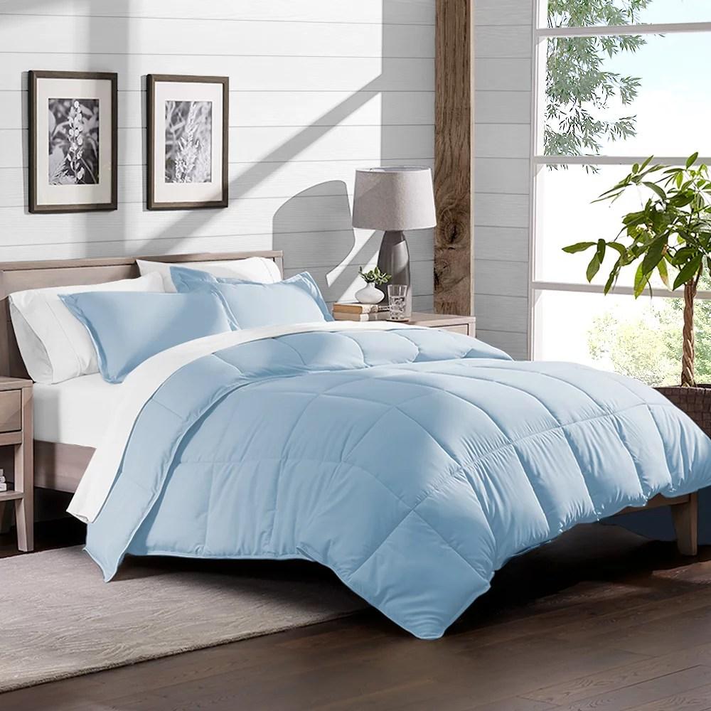 5 piece bed in a bag twin comforter set light blue sheet set white