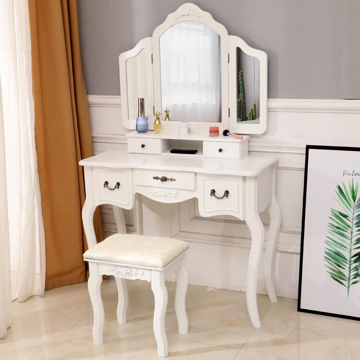 ubesgoo wooden vanity set makeup table stool set with 3 mirrors and 5 drawers white