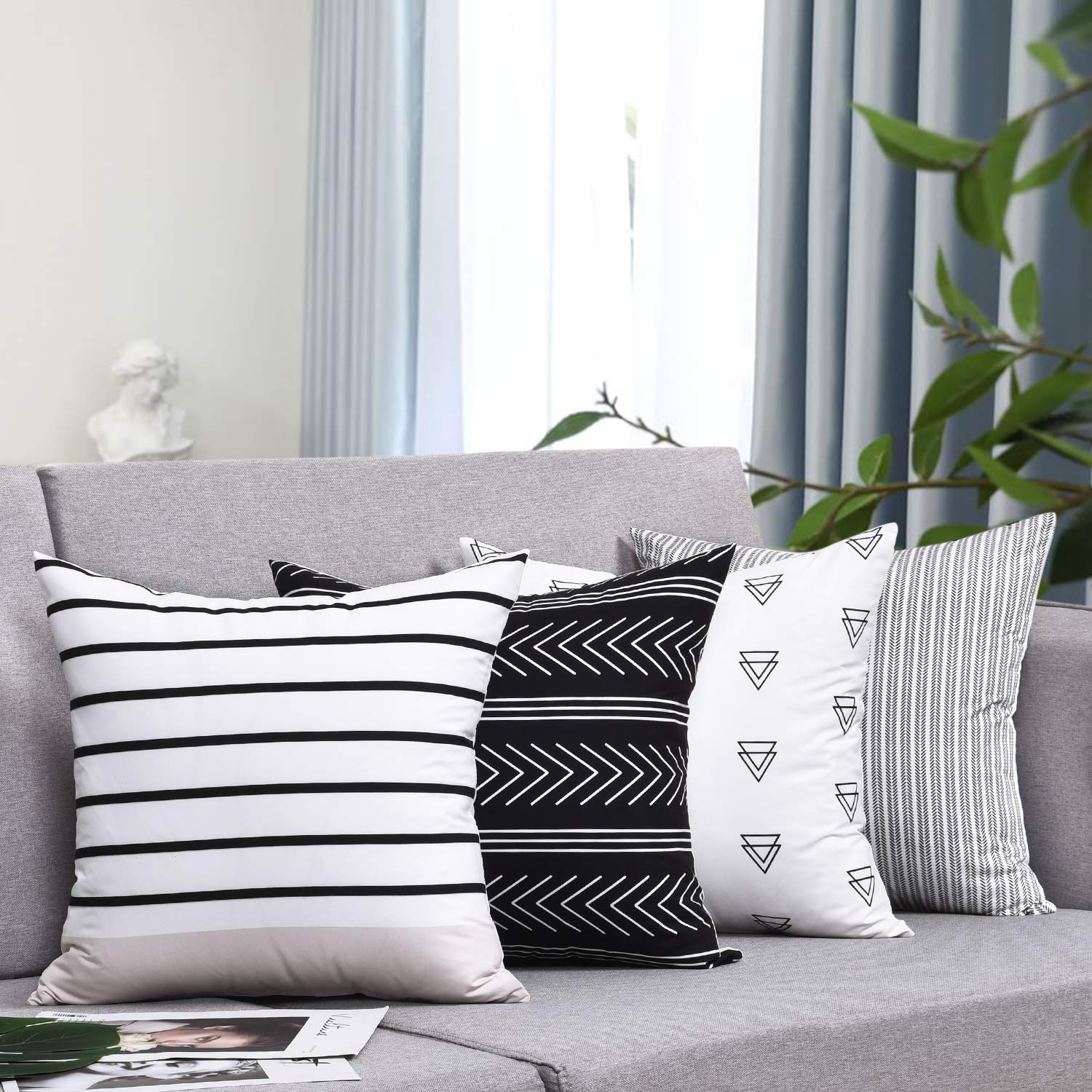 wendana pillow covers stripe pattern throw pillow case daily decorations sofa throw pillow case cushion covers zippered pillowcase 18 x 18 set of 4