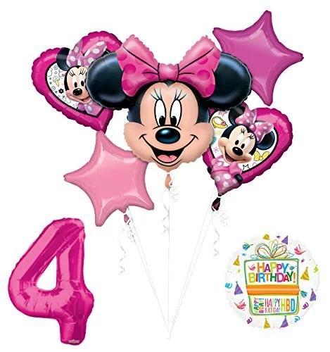 New Minnie Mouse 4th Birthday Party Supplies Balloon Bouquet Decorations Walmart Com Walmart Com
