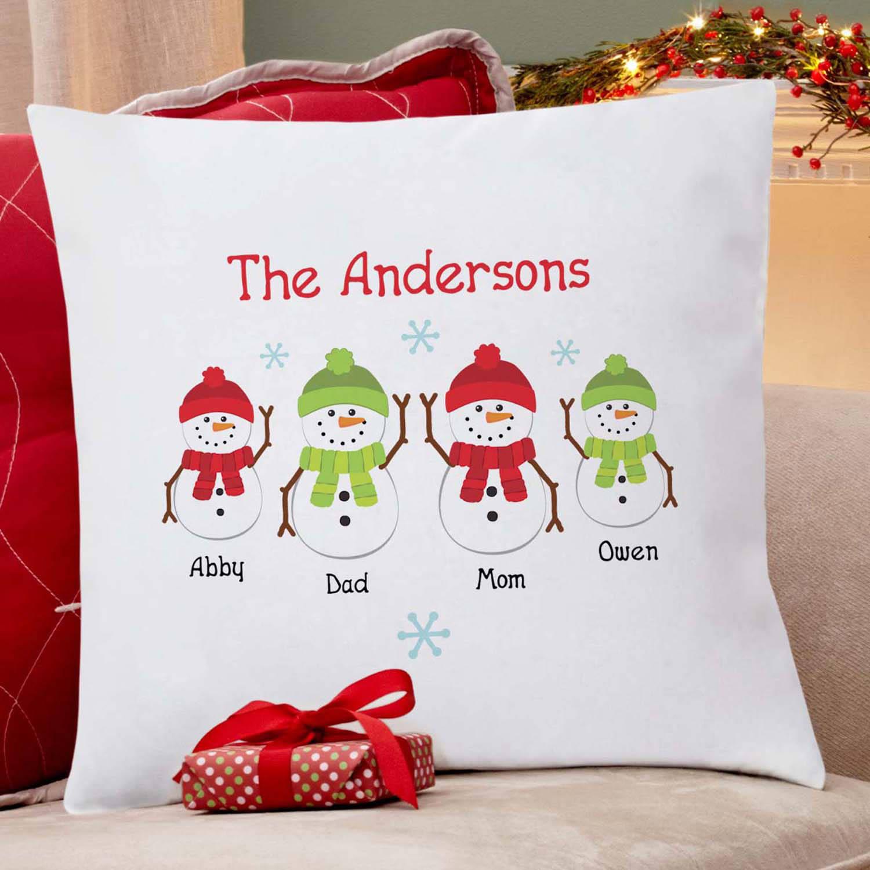 personalized snowman family pillow walmart com