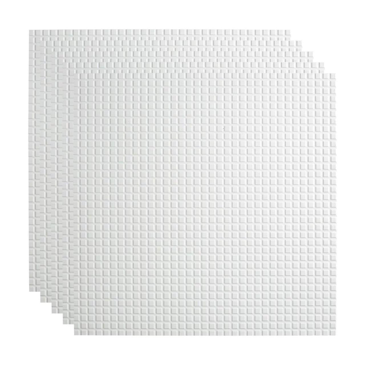 fasade square 2ft x 2ft vinyl lay in ceiling tile gloss white 5pk
