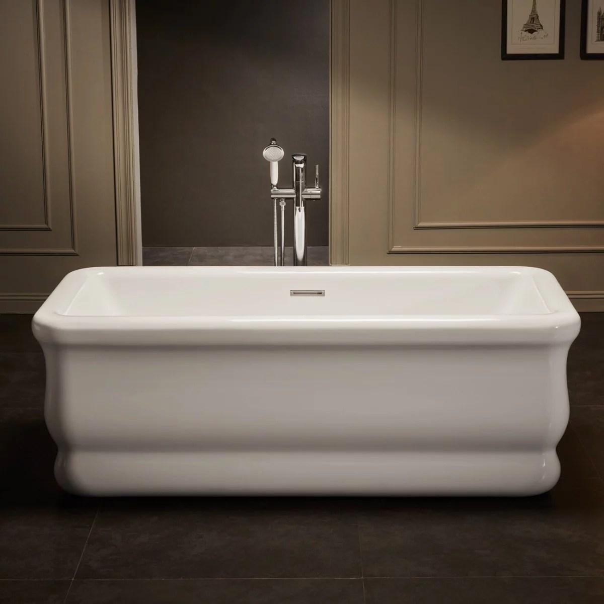vintage tub bath brighton 67 inch acrylic double ended freestanding tub no faucet drillings walmart com