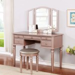 Bobkona St Croix 3 Fold Mirror Vanity Table With Stool Set Rose Gold Walmart Com Walmart Com
