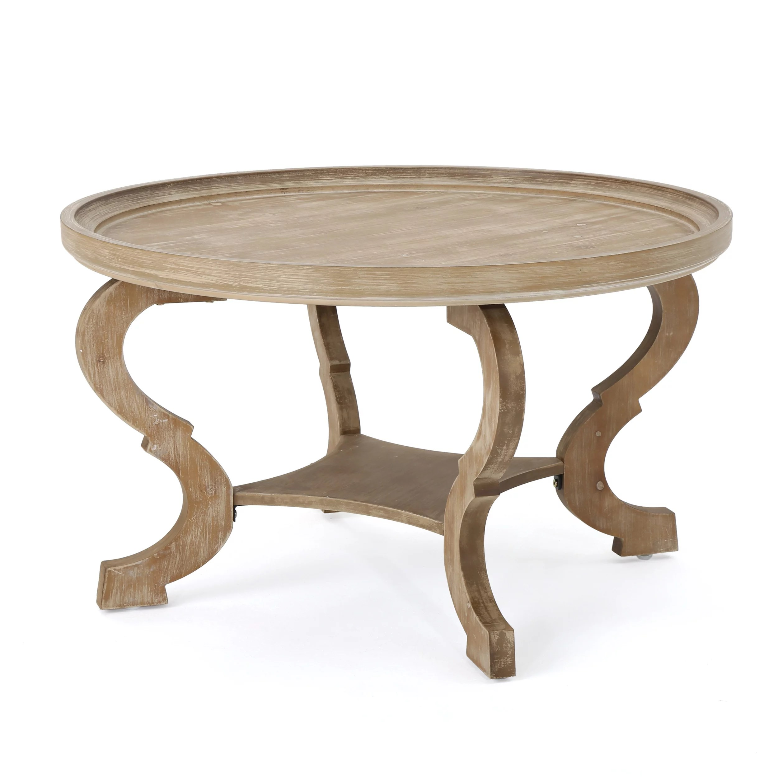 alteri faux wood circular coffee table natural finished