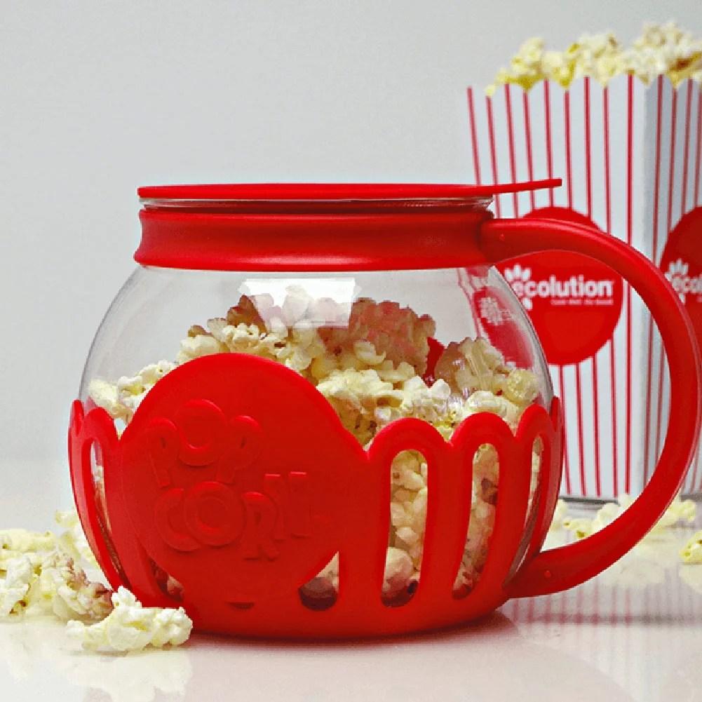 ecolution micro pop microwave popcorn popper 3qt temperature safe glass w multi purpose lid large blue