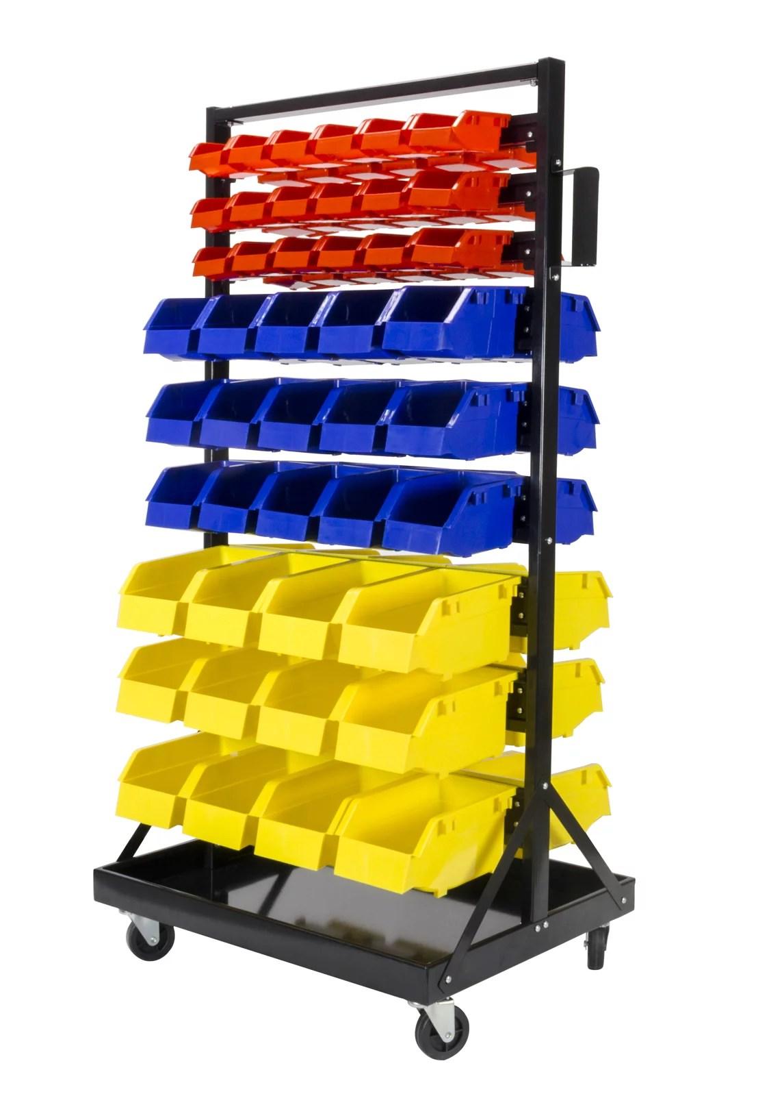 erie tools tlpb05 90 parts bin shelving storage organizer with locking wheels for shop garage and home walmart com
