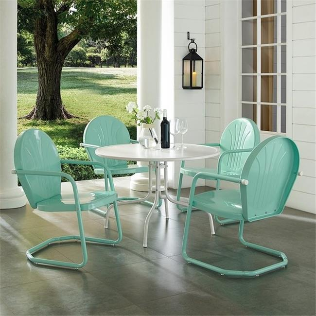 crosley furniture griffith metal five piece outdoor dining set 40 dining table in white finish with aqua finish chairs