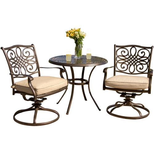 hanover traditions 3 piece bistro dining set with two alumicast swivel rockers and a 32 in round table