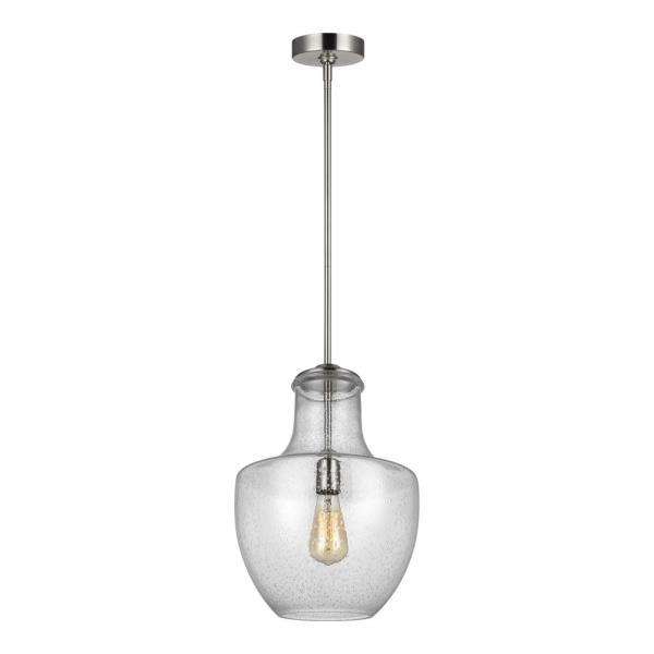 murray feiss lighting baylor one light pendant satin nickel finish with clear seeded glass