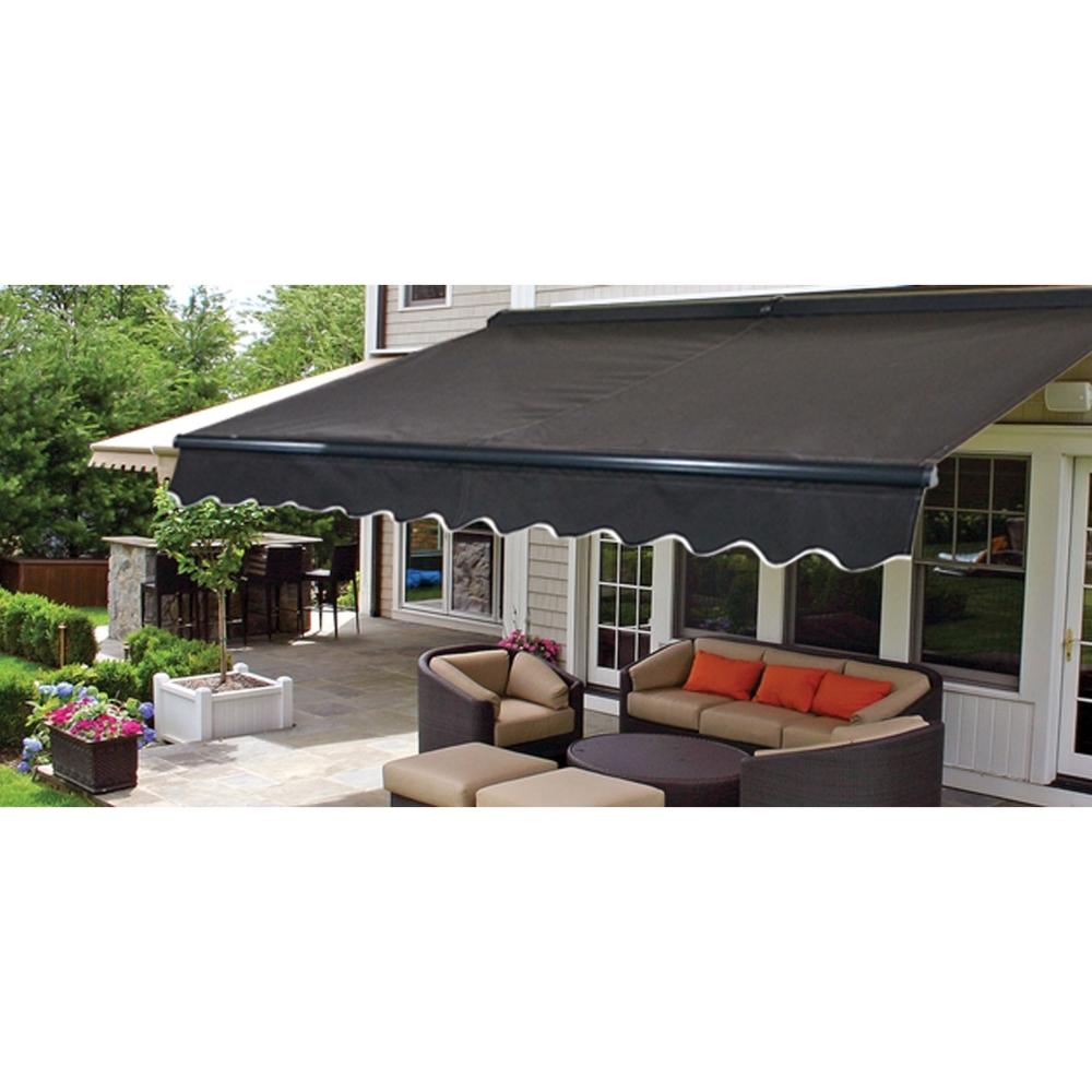 aleko awc12x10bk81 sunshade half cassette retractable patio deck awning 12x10 ft black color