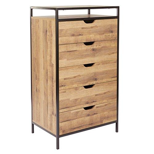 quinton 5 drawer dresser salvage oak finish with matte black coating