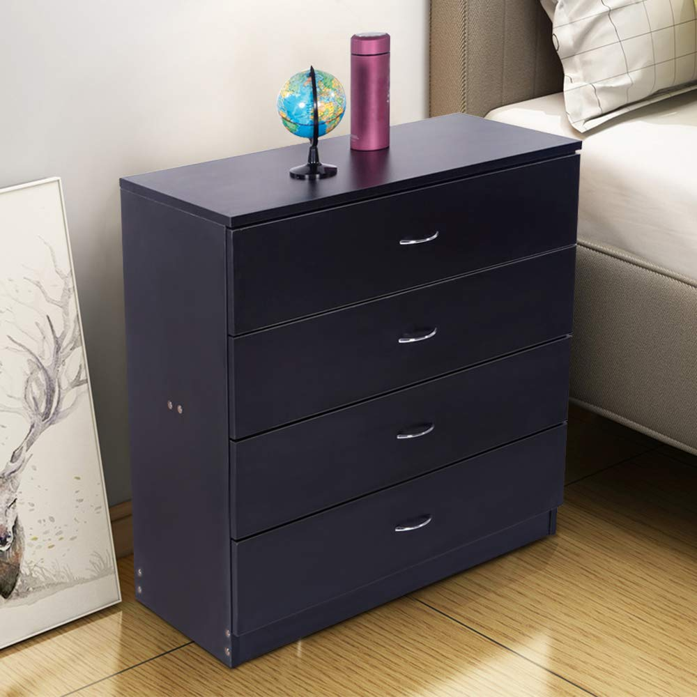 zimtown modern nightstand with 4 drawers bedside table for bedroom nightstand storage organizer wooden furniture black