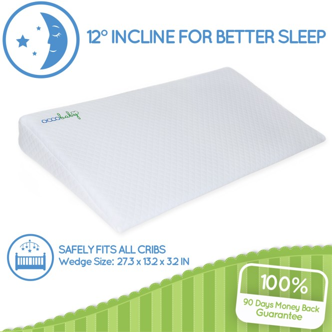 Occobaby Universal Crib Wedge Pillow For Baby Mattress Waterproof Layer Handcrafted Cotton Removable Cover 12 Degree Incline Better Night S Sleep