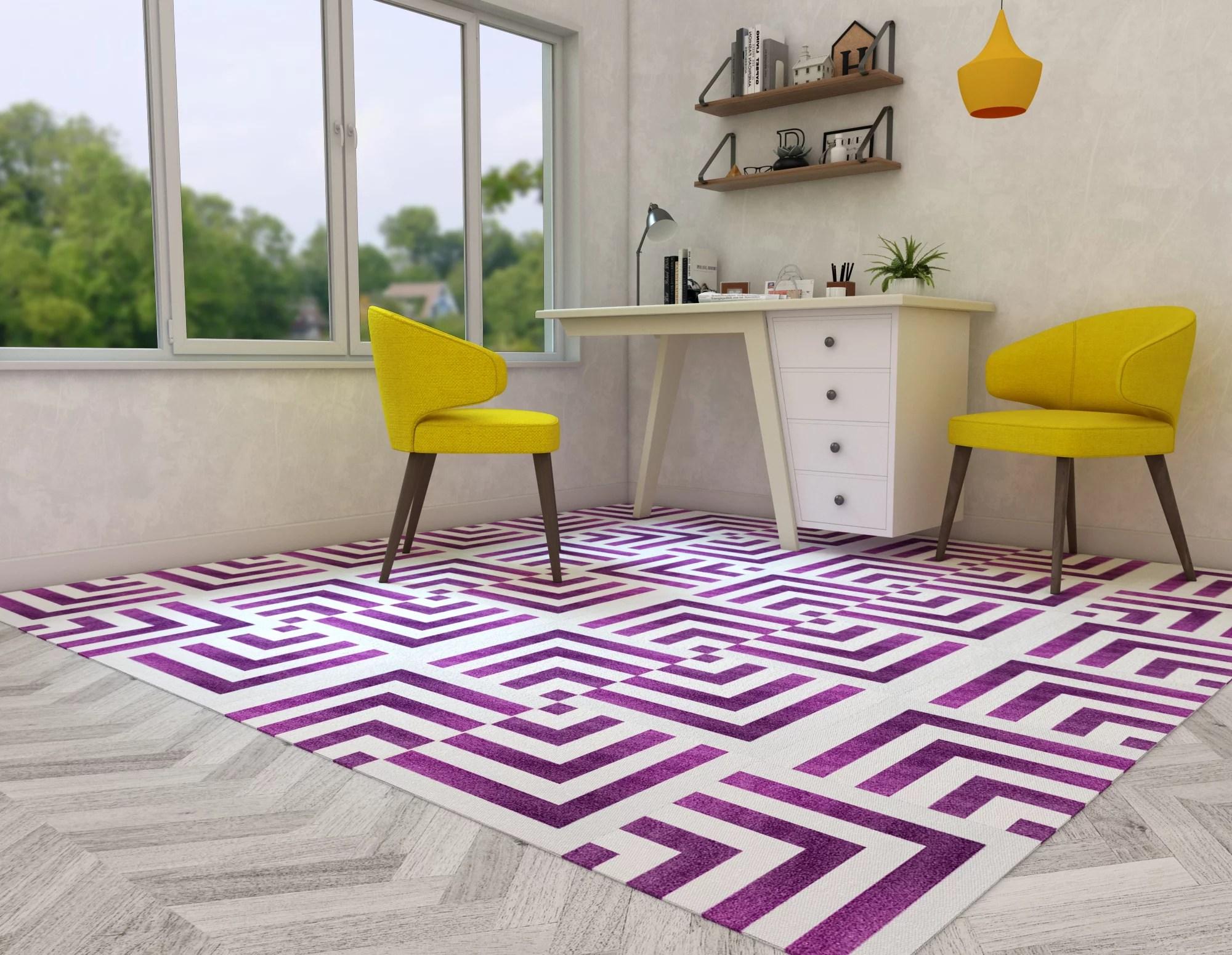 artyzio modular modern geometric carpet squares peel and stick rug tiles 20 piece set 5 x 8 feet pink and white walmart com