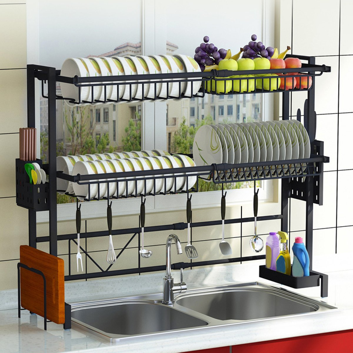 upgraded 1 2tier sink rack dish drainer for kitchen sink racks stainless steel over the sink shelf storage rack walmart com