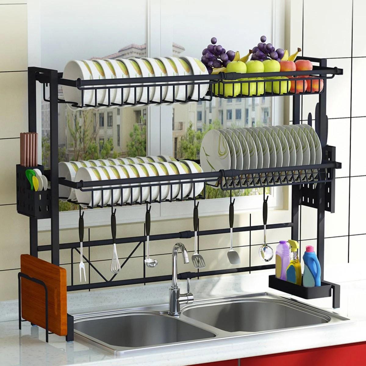 upgraded 1 2tier sink rack dish drainer for kitchen sink racks stainless steel over the sink shelf storage rack