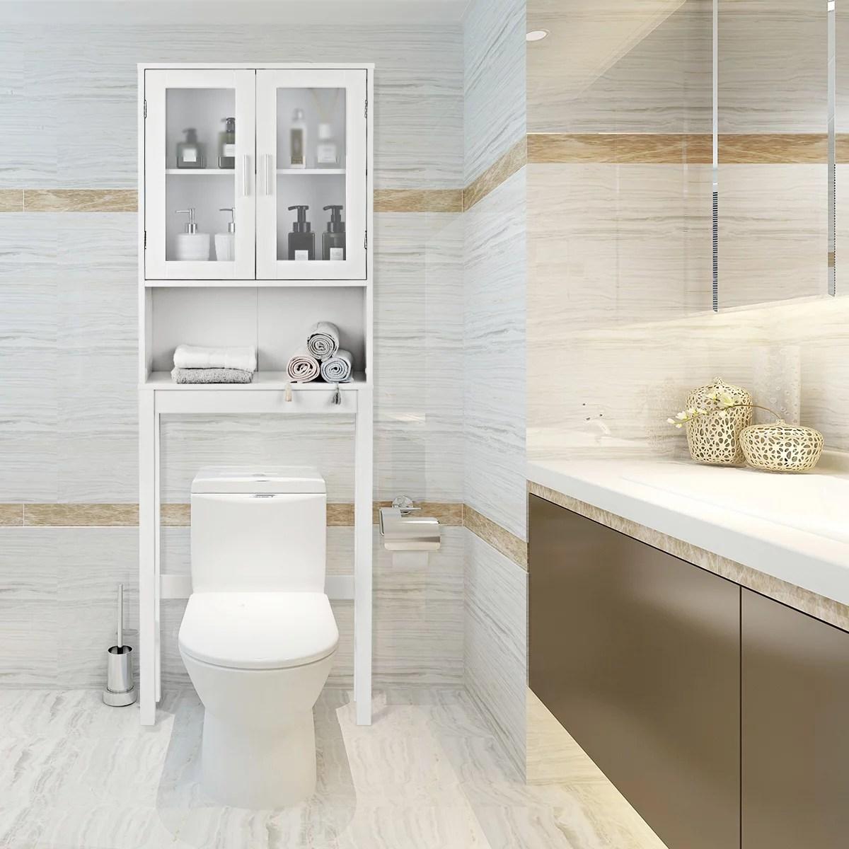 meuble de salle de bains dessus toilette avec 1 armoire a double porte et 1 etagere rangement ouverte style epure 57 5 x 18 6 x 170cm blanche