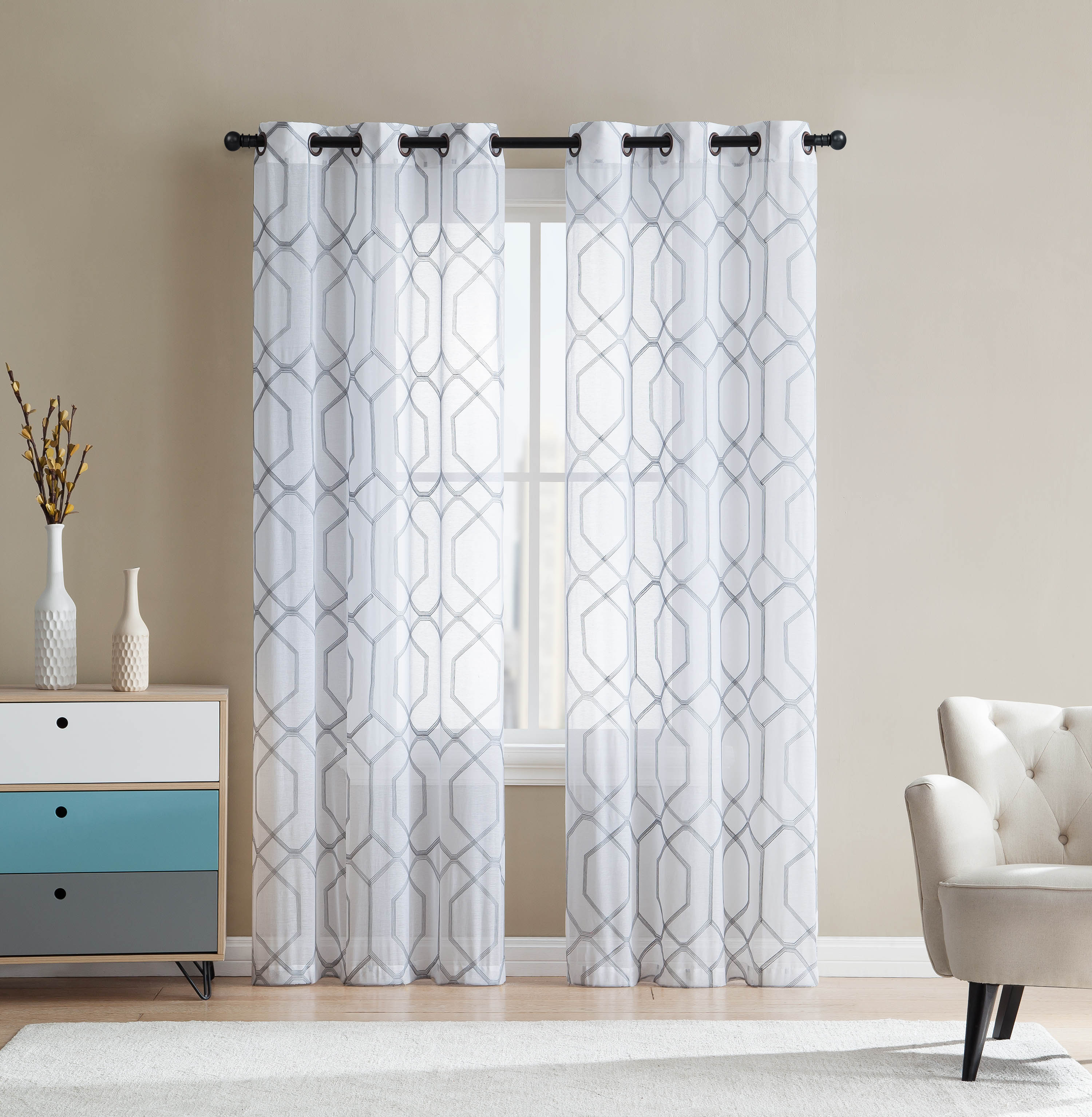 white and gray sheer grommet window curtain panel pair with embroidered geometric design 38w x 96l each walmart com