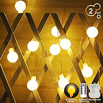 globe string lights battery operated warm white waterproof 2 pack 19 7ft 40 led globe fairy string lights 8 modes with remote control perfect for
