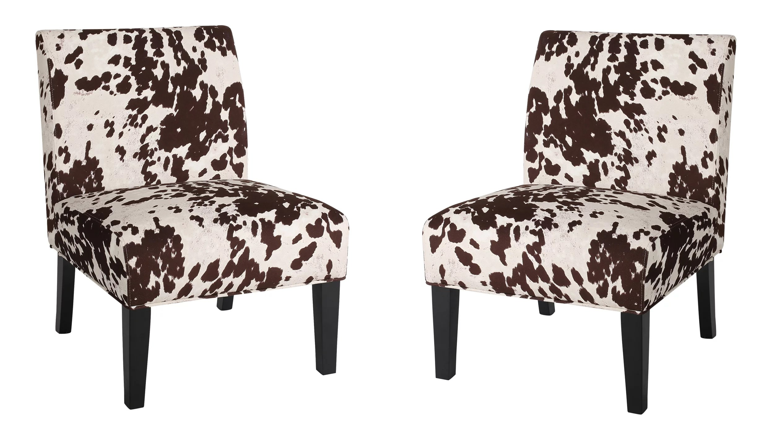 casey contemporary fabric slipper accent chair set of 2 cow print and matte black