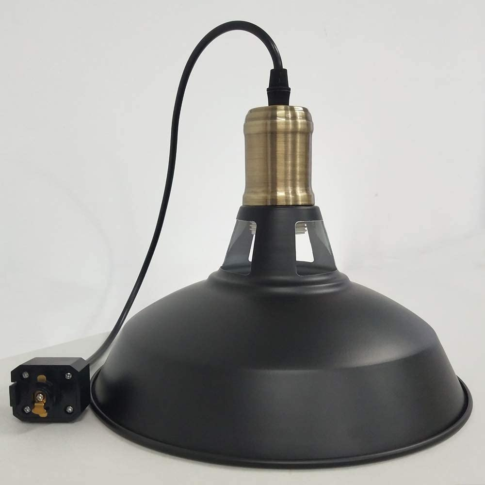 stglighting iron h type track pendant lighting 11 8in cord customizable black lampshade dimmable track mount pendant lights for industrial style e26