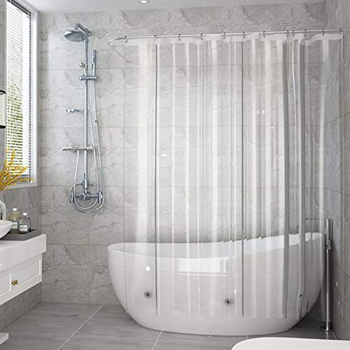 aoohome clear shower curtain liner eva extra long shower curtain with hooks bottom magnets waterproof heavy weight rust proof grommets 72x78