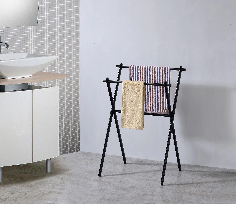 expression double freestanding bathroom towel rack stand black metal