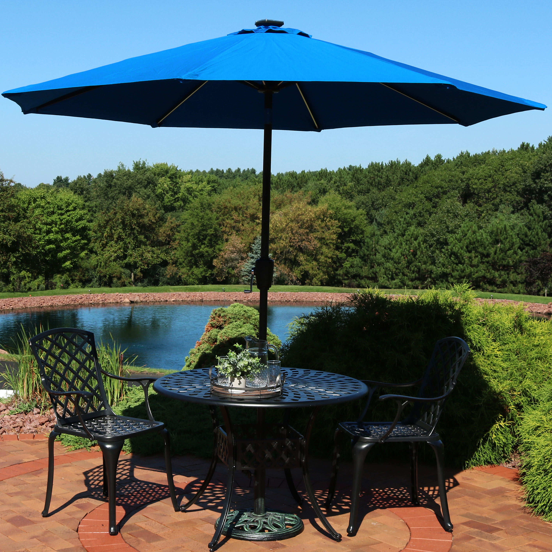 sunnydaze sunbrella patio umbrella with solar lights 9 foot tilting outdoor market umbrella for pool deck garden porch or yard led light bars